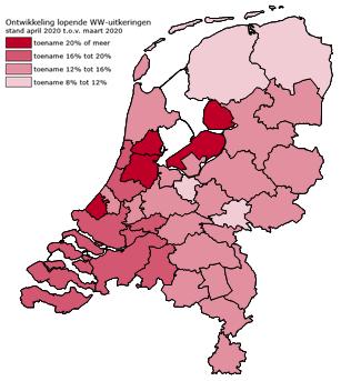 Ontwikkeling WW in Nederland, april 2020